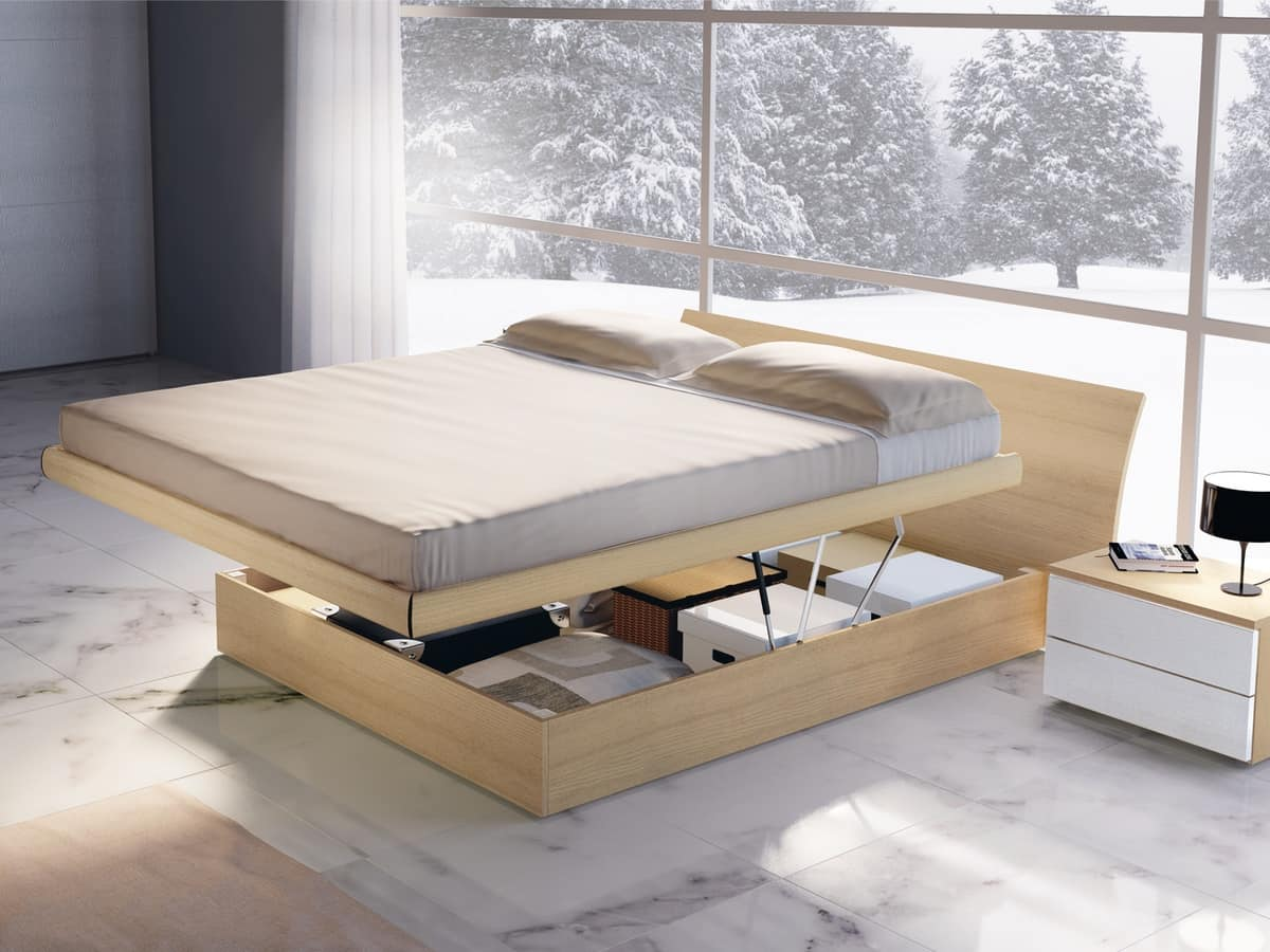 Bed Design 06, Wooden double bed with storage