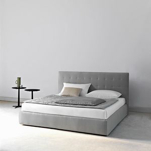 Montmartre bed, Container double and single bed, with padded headboard