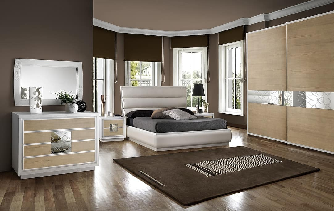 ST 705 C, Contemporary bed with container and padded headboard