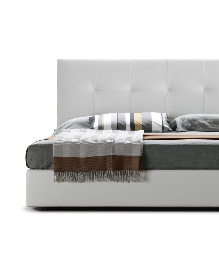 VANITY, Bed with container, upholstered in faux leather