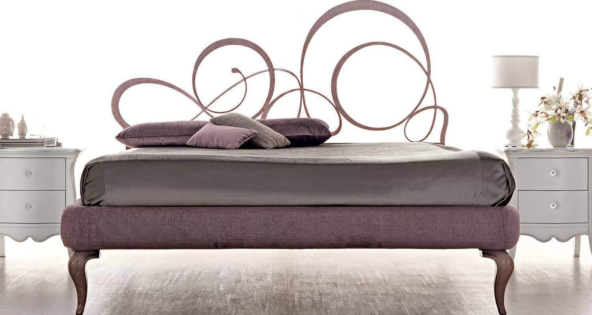 Bizet Art. 921, Bed with laser-cut iron structure and hand-refined