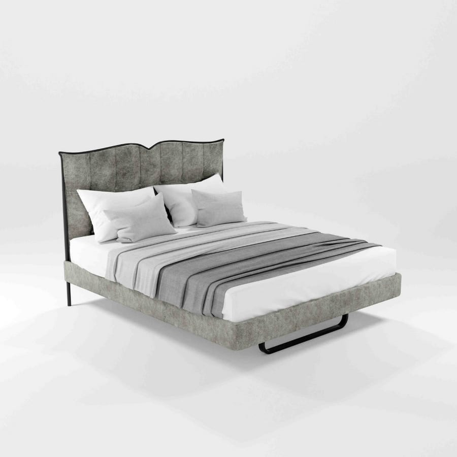 Bolton, Iron bed with upholstered headboard