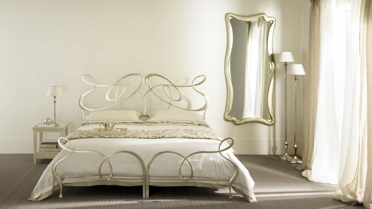 Ghirigori twin bed, Twin bed in flat-iron, handmade, for hotels