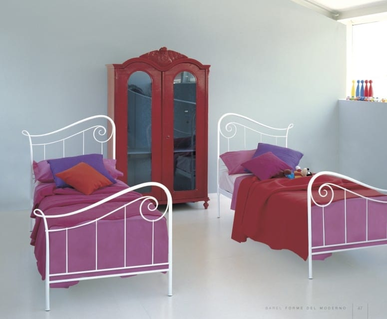 Holiday, Single bed in decorated iron