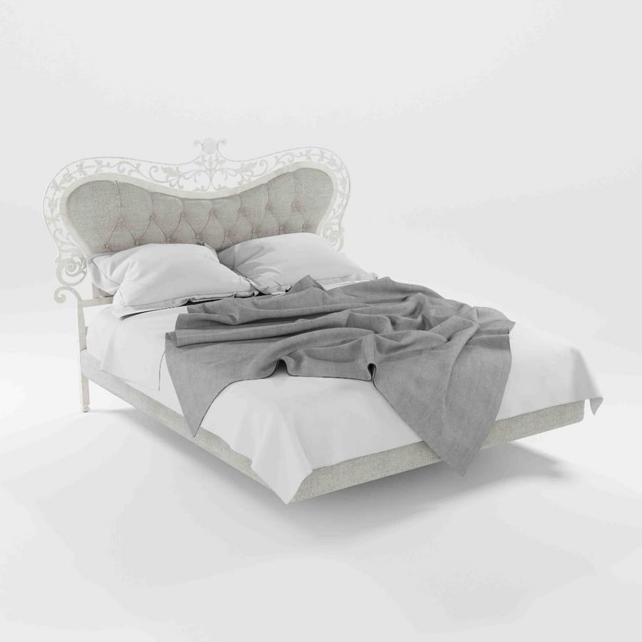 Isabel, Bed in iris with upholstered headboard