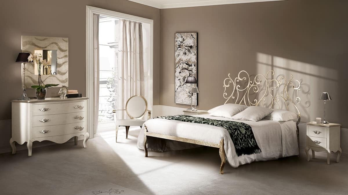 Klimt bed, Bed in drawn iron, handmade, for hotels