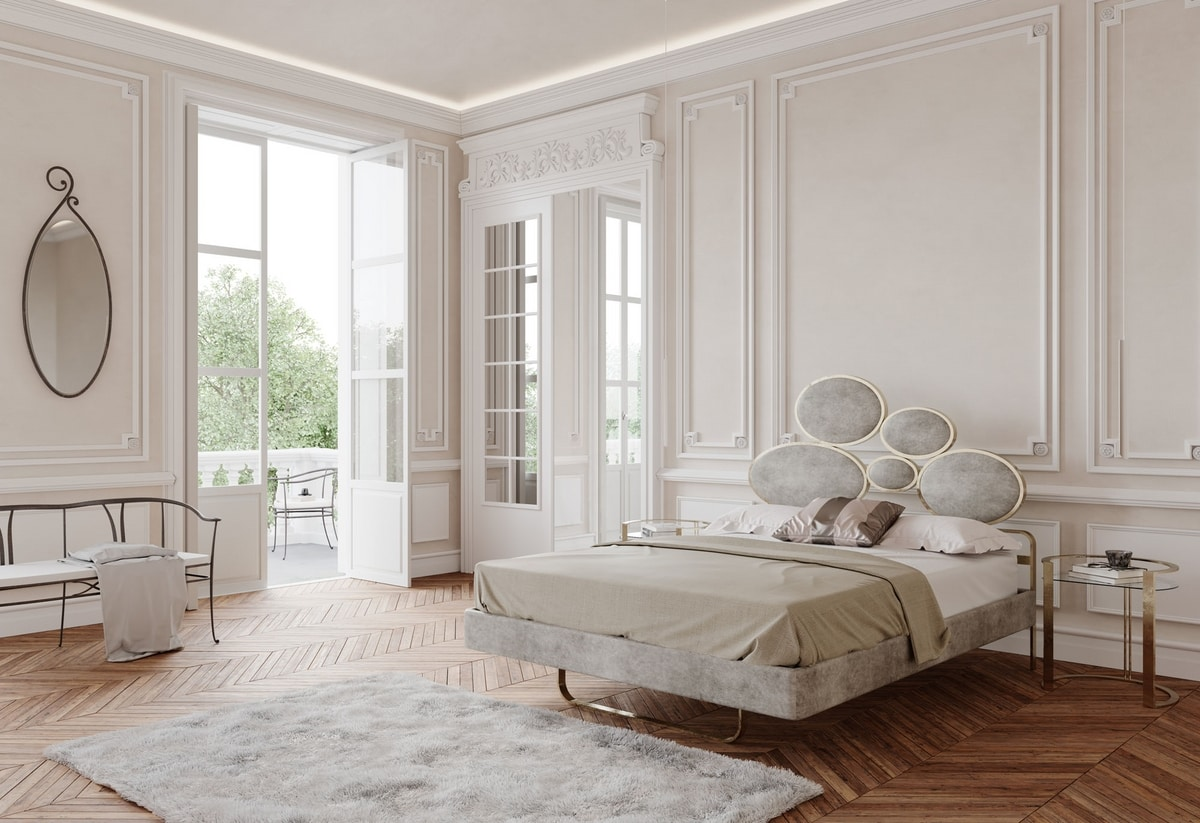 Notturno Due, Bed with headboard with oval padded