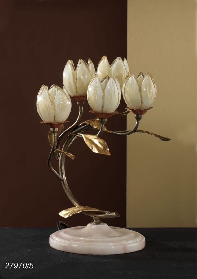 Art. 27970/5 Fior di Loto, Table lamp with glass elements