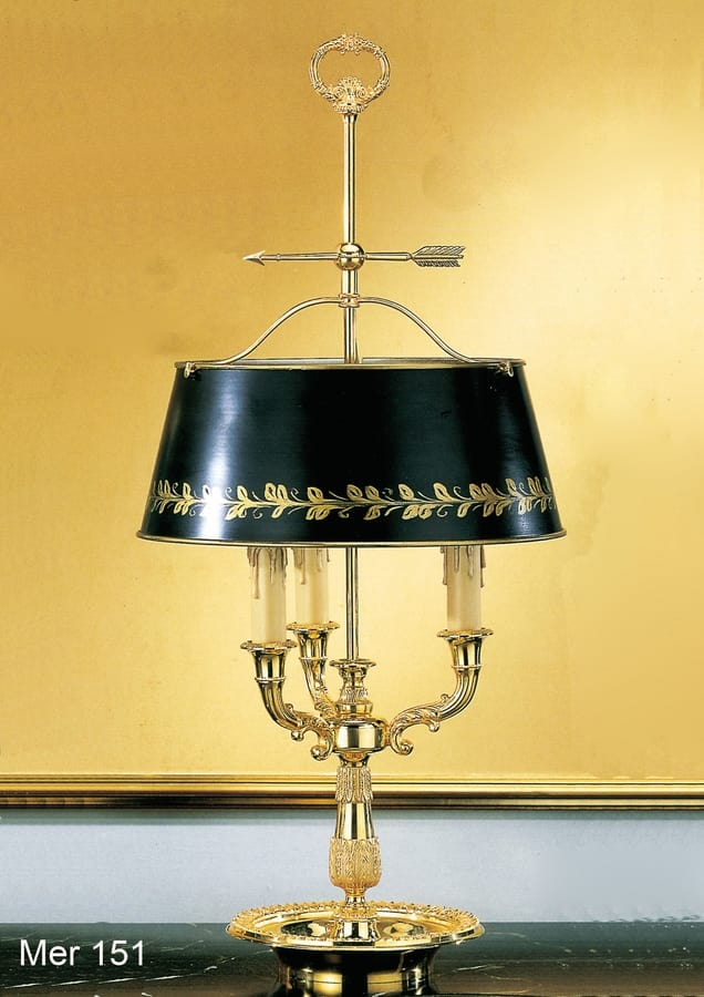Art. MER 151, Table lamp made in gold plated 24kt brass