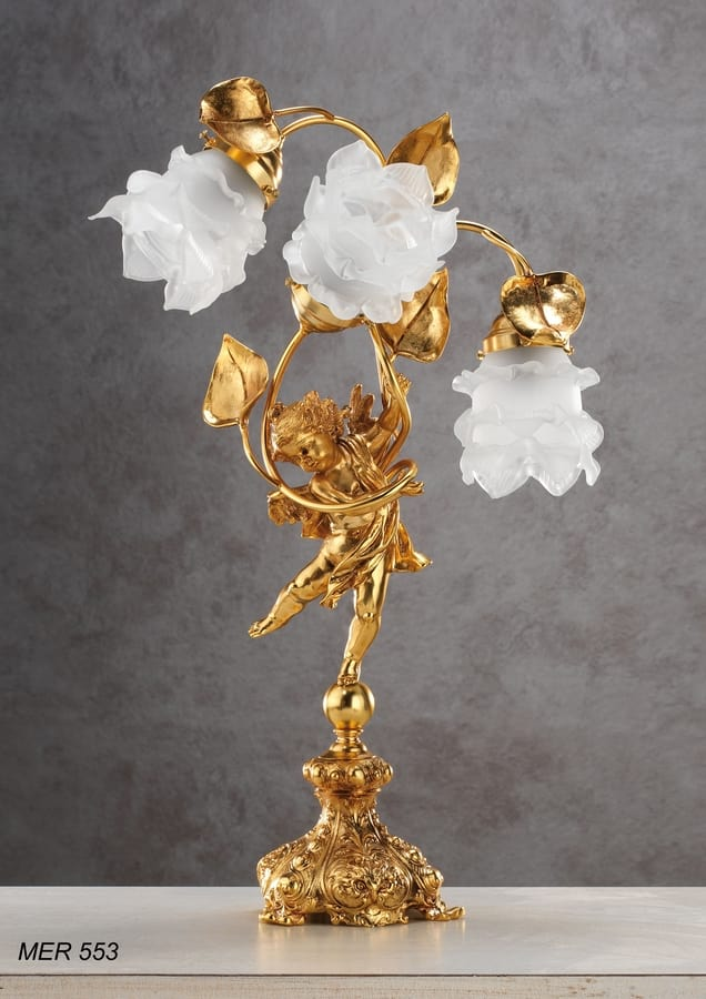Art. MER 553, Table lamp with Murano glass roses