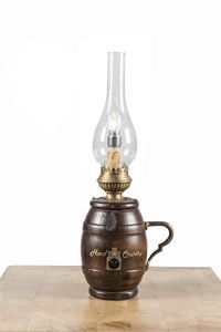 Art. SL 157, Table lamp, barrel shaped, country style