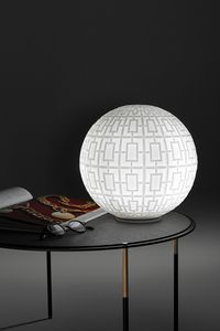 Ball, Glass table lamp with geometric decorations