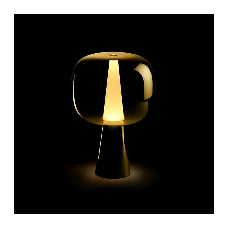 Dusk Dawn Table Lamp, Table lamp in brass and metallized glass