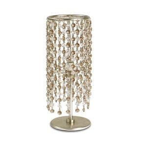 Gioia abat-jour, Table lamp in iron, glass pendants in 2 colors