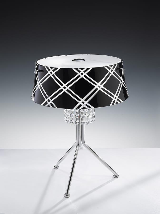 MEDUSA H 42, Table lamp with crystal pendants