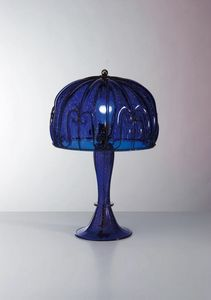 Medusa Mt129-053, Table lamp jellyfish-shaped, in blue glass