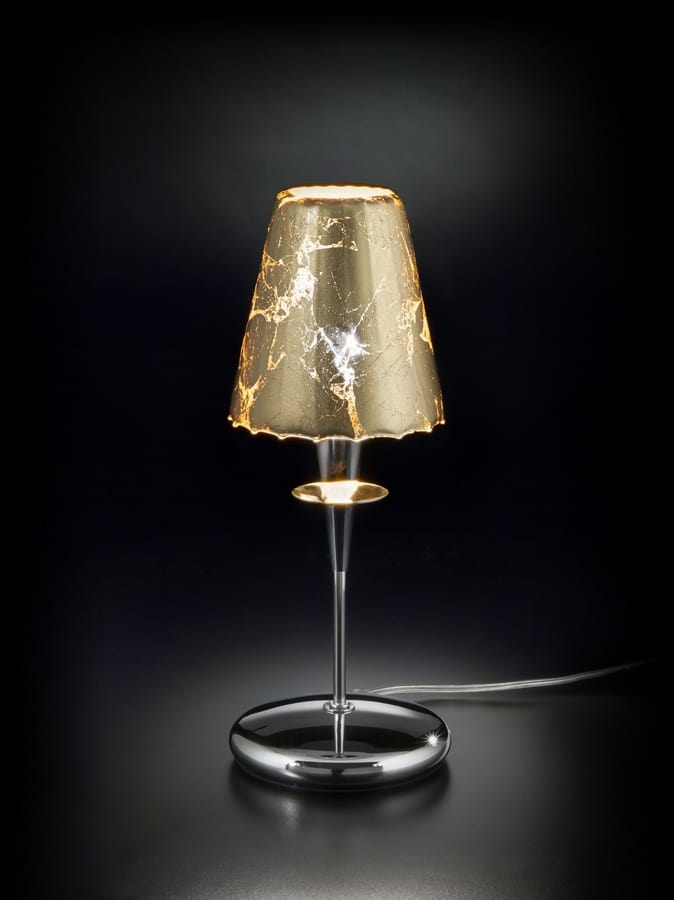 OPERA H 35, Table lamp with lampshade in gold leaf