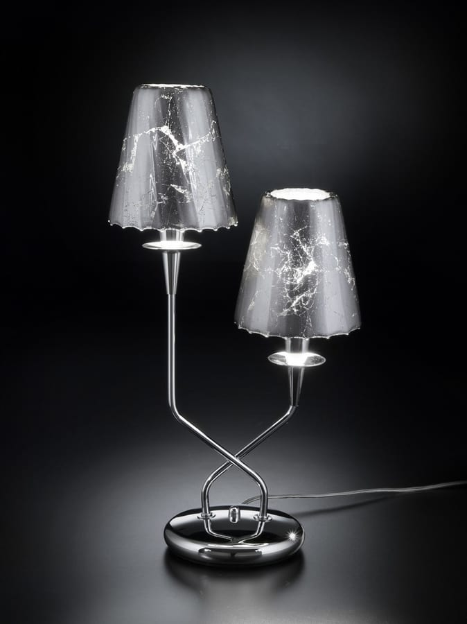 OPERA H 50, Table lamp with 2 crystal lampshades