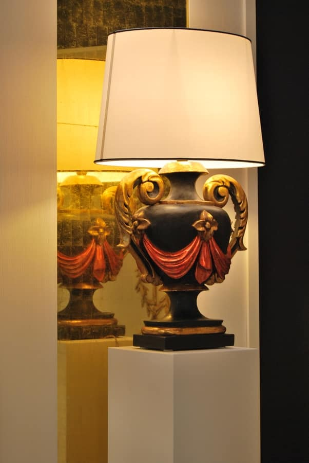 TABLE LAMP ART.LM 0050, Hand-crafted classic wood lamp