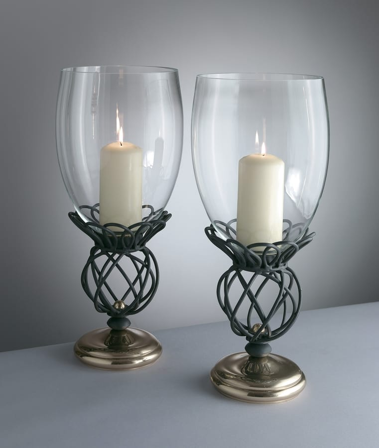 TONDINI HL1092CA-S, Candlestick in iron and brass with glass