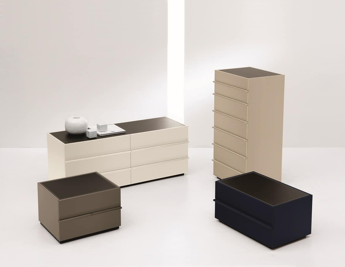 AKI nightstand, Modern lacquered nightstand, for Bedroom