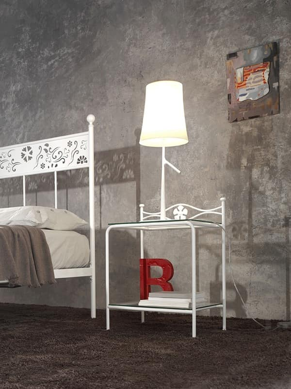 Albatros Bedside Table, Bedside table in metal with glass shelves, floral decoration