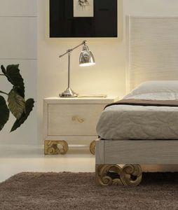Allegra carved foot nightstand, Sandblasted wooden bedside table