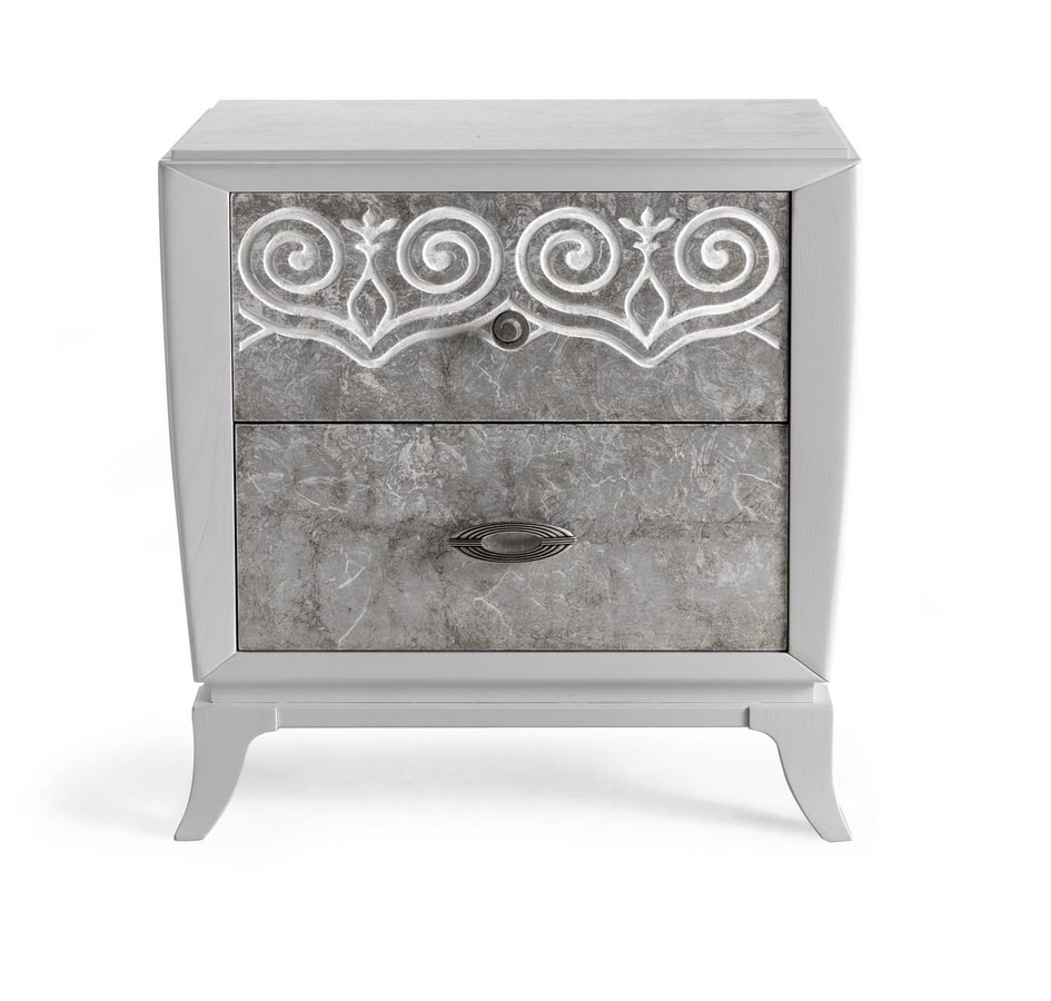 AN 721 PB, Bedside table with silver fronts