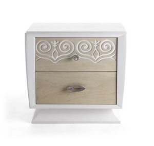 AN 721 ZA, White lacquered and walnut bedside table