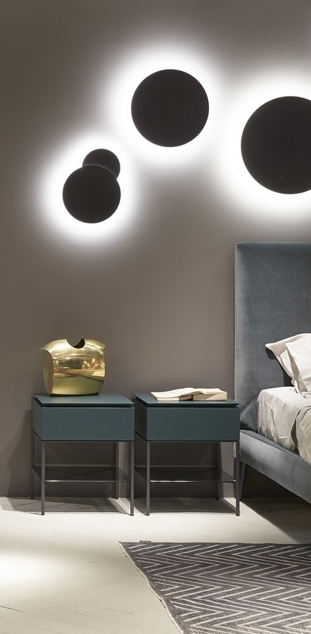 ARES nightstand, Bedside table with  smoked glass shelf