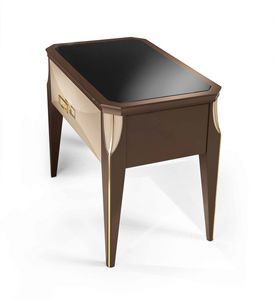 ART. 3352, Bedside table with smoked glass top