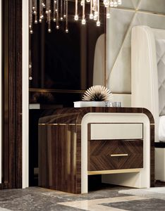 ART. 3372, Elegant bedside table with leather details