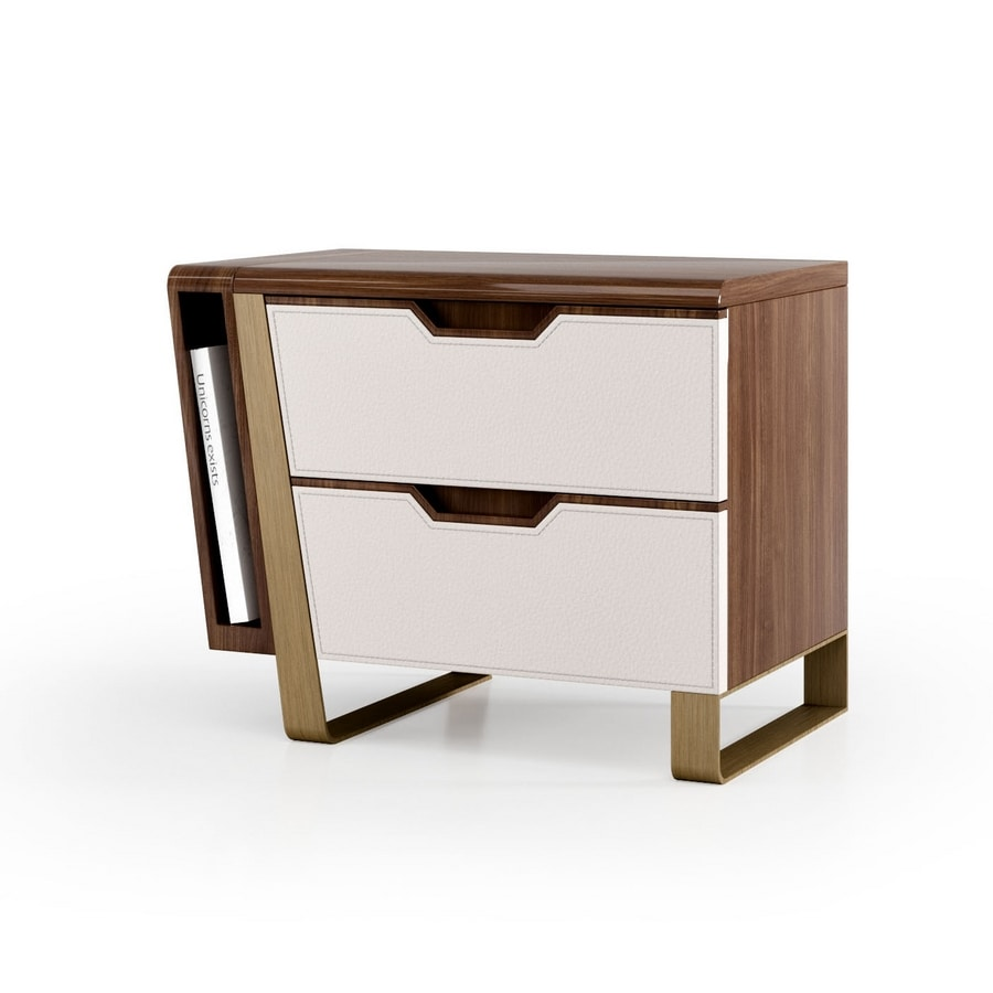 ART. 3444, Bedside table with leather drawers
