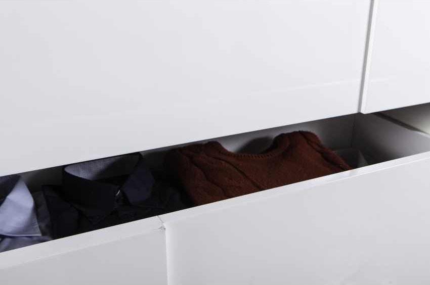 Bedside Cabinet White Glossy 3 Drawers Concrete Effect Modern Design, Modern bedside table for bedroom