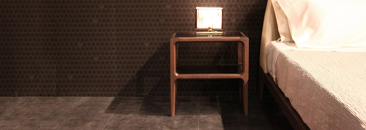 Bellagio 1301/F, Wooden bedside table with glass shelves