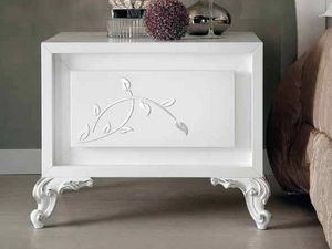 Camelia nightstand, Bedside table in white lacquered wood