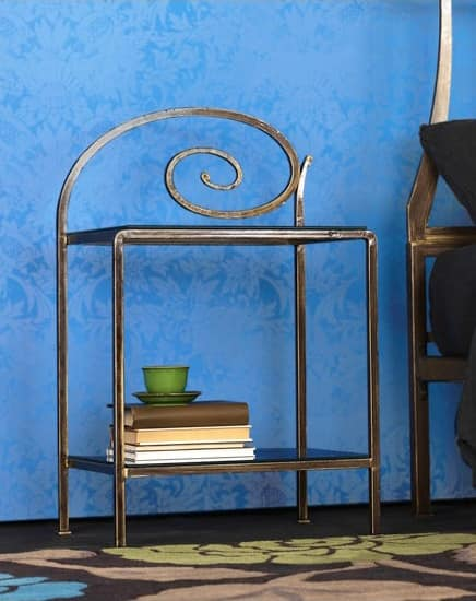 Capriccio Bedside Table, Metal nightstand with decorations, for hotel room