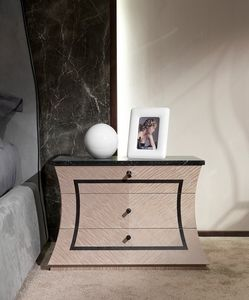 CD30 Cartesio nightstand, Wooden bedside table with marble top