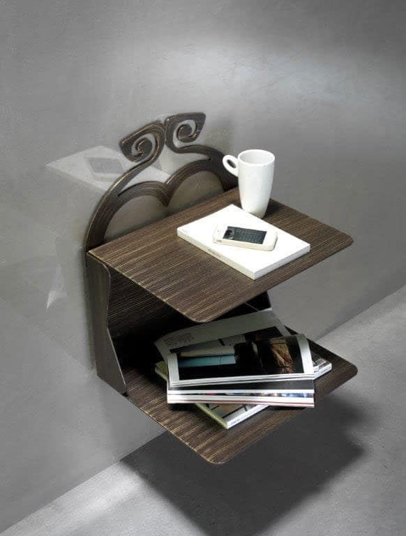 Charme nightstand, Bedside table with 2 shelves in painted metal, suspended