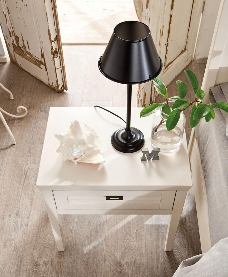 Ciro bedside table, Solid wood bedside table, braked recall of drawers