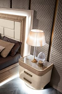 Diamond bedside table, Bedside table with marble effect glass top