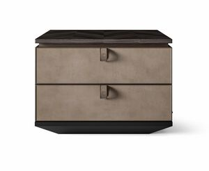 Dragonfly Art. D610, Bedside table with drawers in nubuck leather