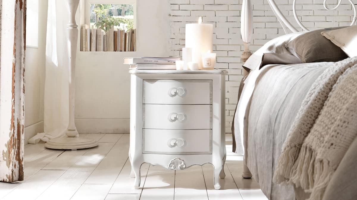 Enrico bedside table, Wooden nightstand, iron handles laser cut