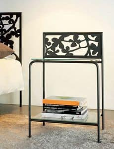 Flower Bedside, Modern metal nightstand with glass shelves