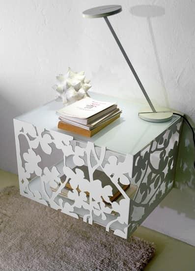 Flower suspension, Bedside in suspension, metal base, glass top