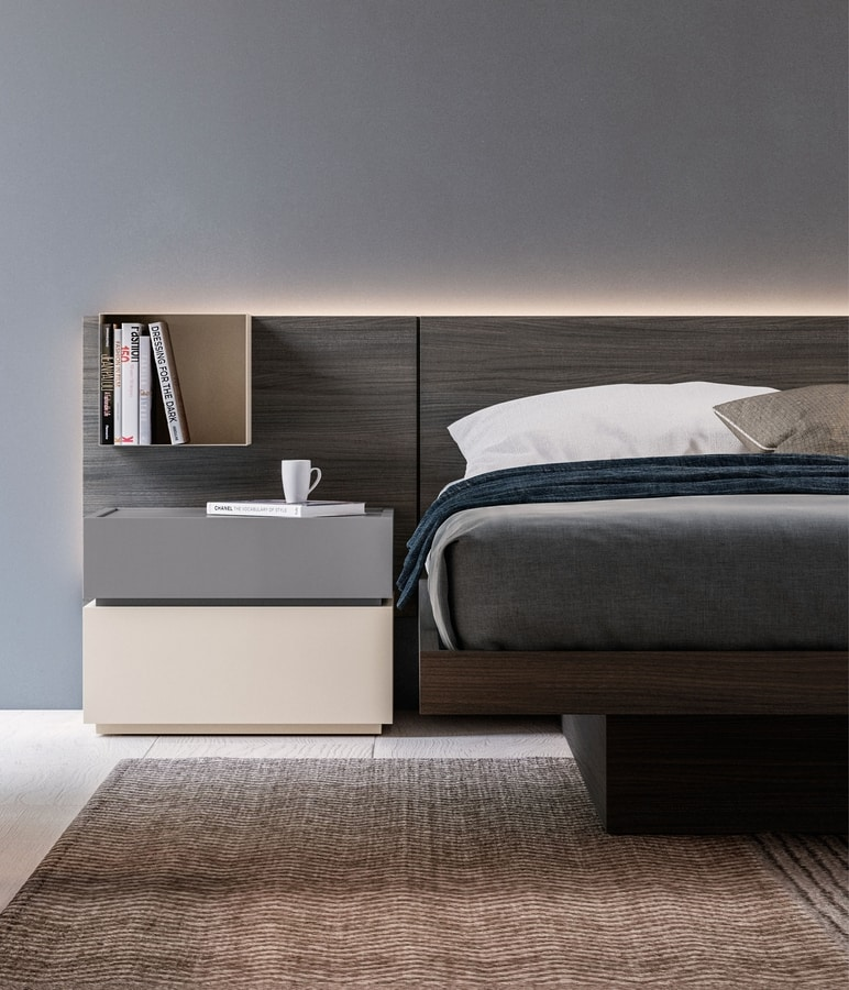 GALLIA nightstand, Two-tone lacquered bedside table
