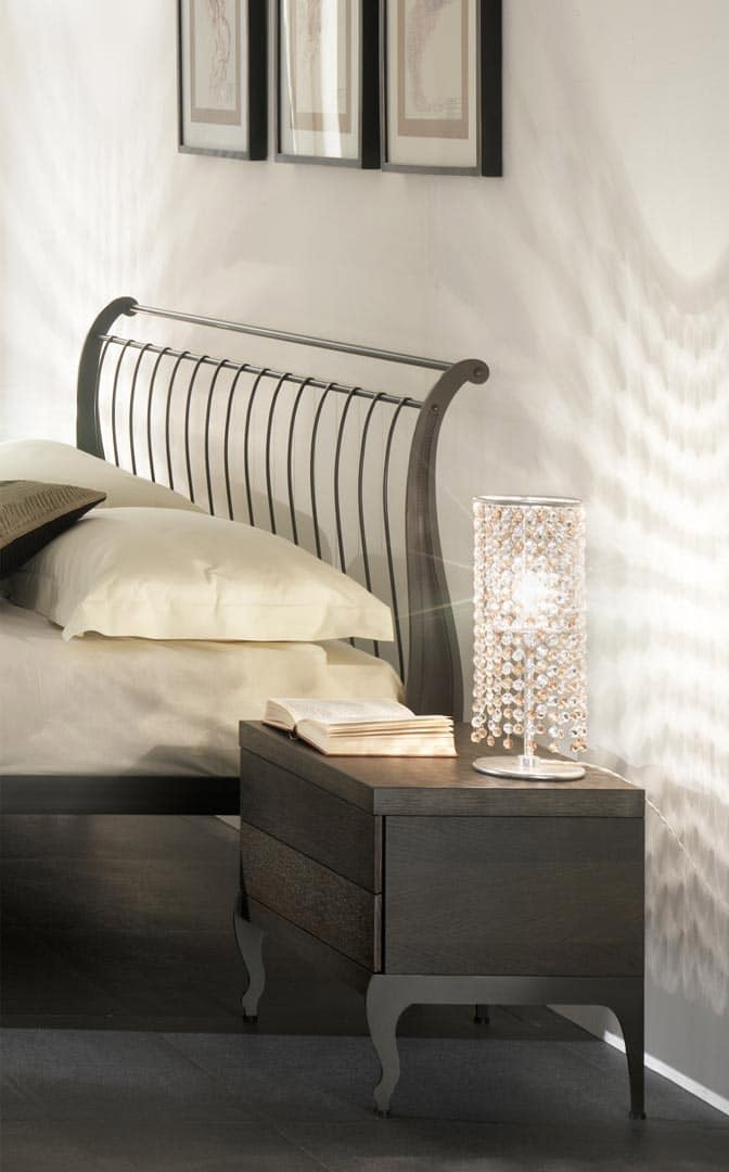 Gio bedside table, Table in iron and wood, soft close system