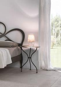 Giotto bedside table, Table-shaped bedroom table, in iron laser cut