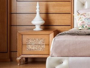 Giulietta e Romeo nightstand, Wooden bedside table with three-dimensional decoration