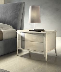 Gold Art. 6606, Lacquered bedside table, with silver detail